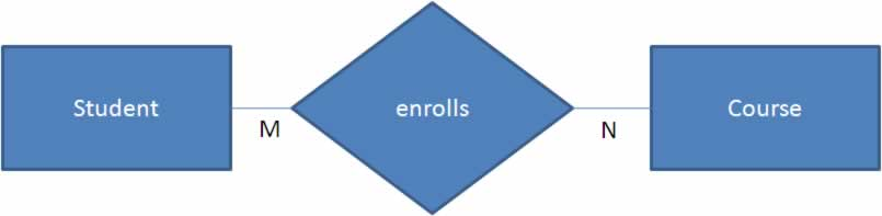 ER Notation - Students enrolls for courses