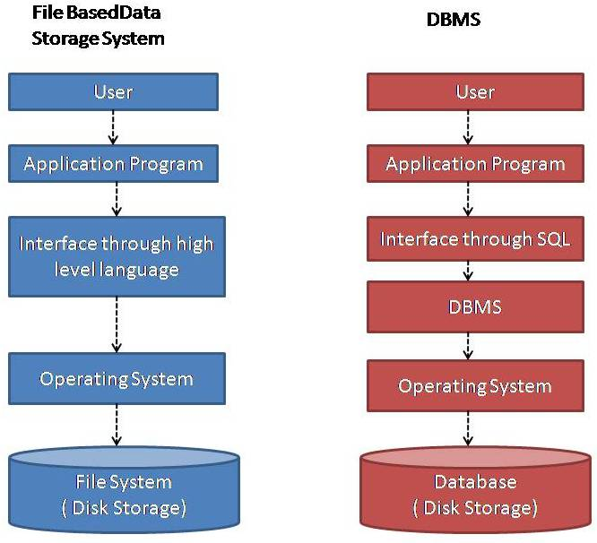 Difference Between File based Data Storage System and DBMS